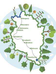Vorarlberg-Karte mit Wanderroute